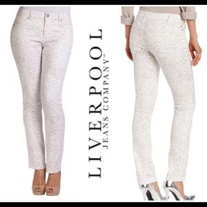 Liverpool Straight Leg White Silver Leopard Jeans